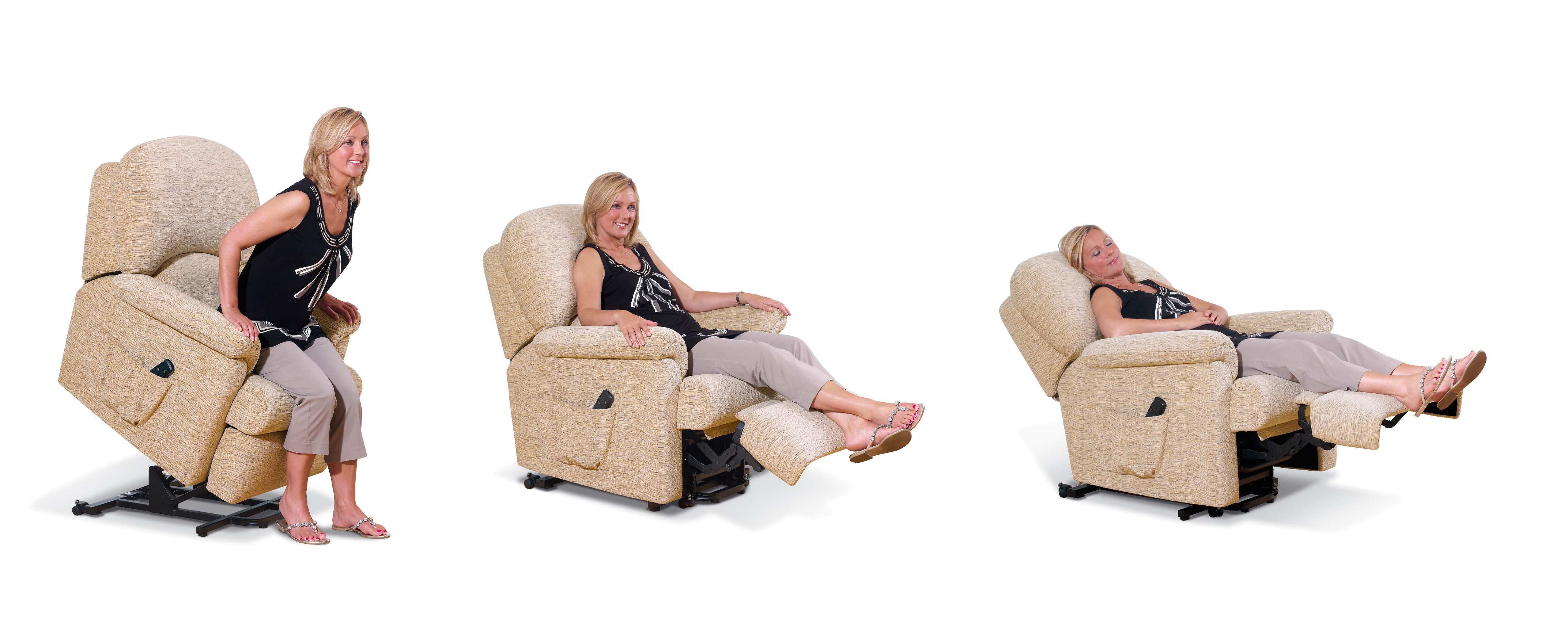 Riser recliner chairs and seats for the elderly